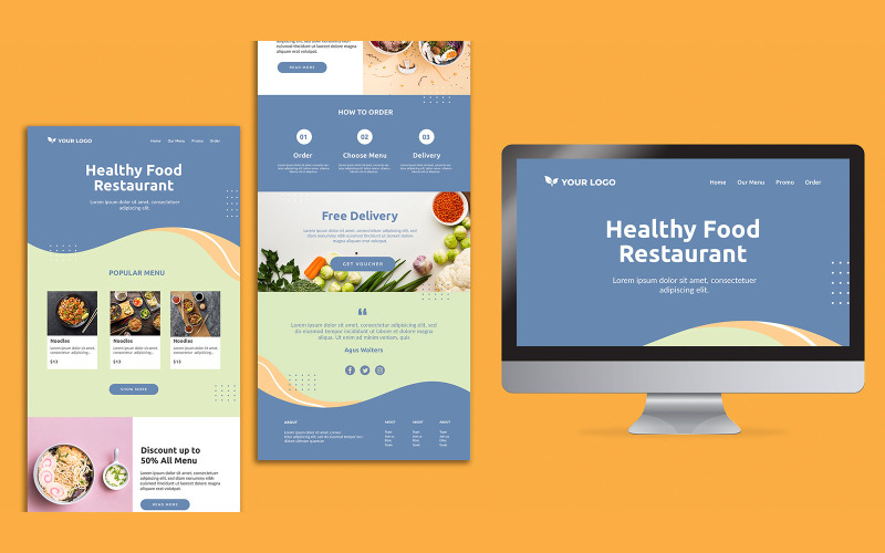 Restaurant Landing Page Design PSD Template