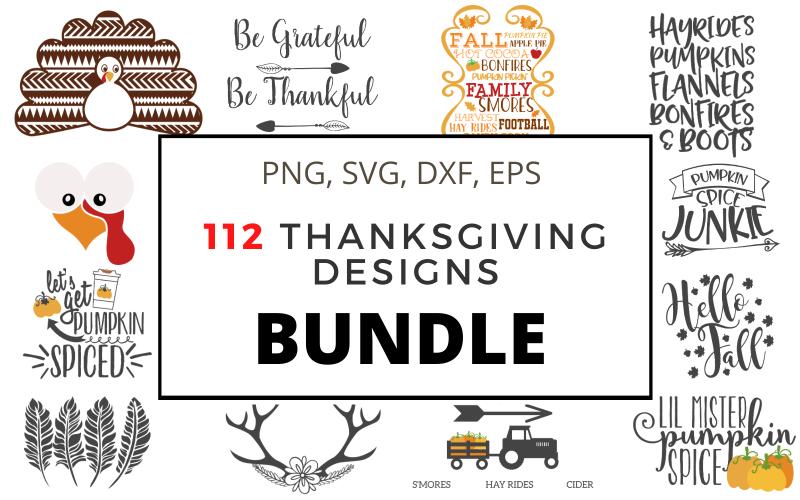 112 Fall Thanksgiving Designs Monogram Frames Bundle Vector Drawings Illustration