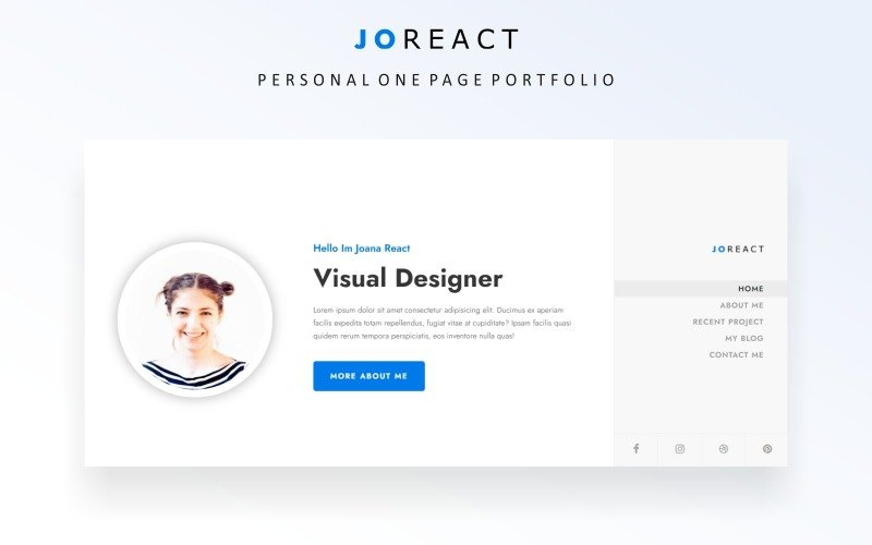 Joreact - Personal Portfolio Bootstrap Landing Page Template