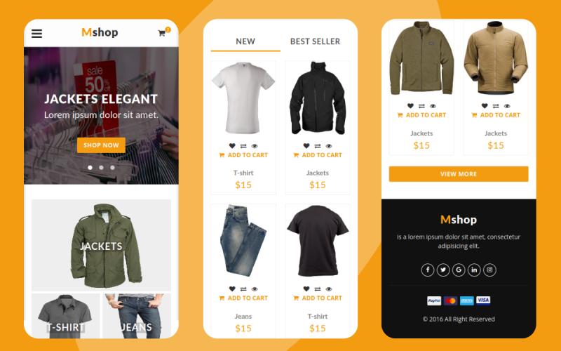 Mshop - шаблон мобильного сайта электронной коммерции