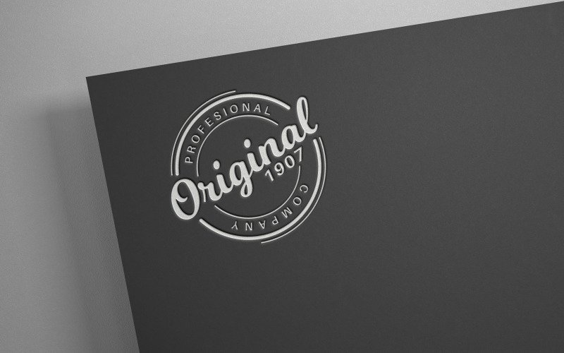 Bílé logo na černém papíře - maketa šablony, grafika