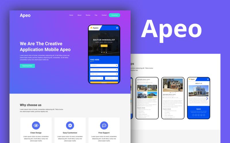 Apeo - App Landing Page Elementor Template Kit