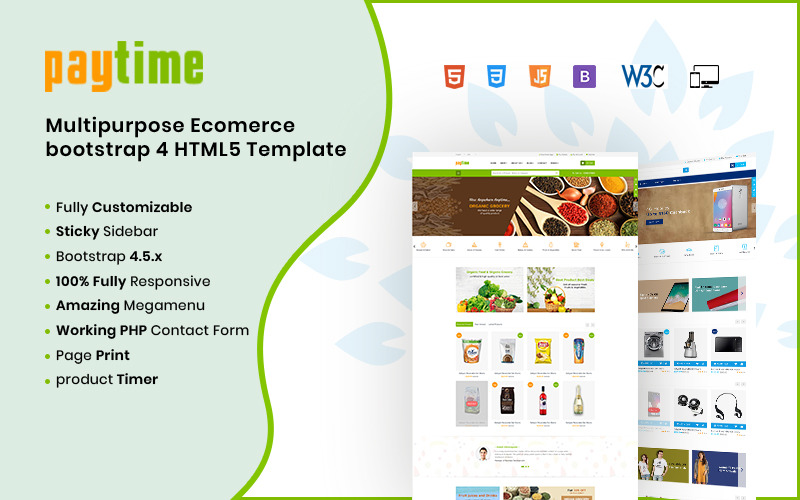 Paytime- Online Grocery Supermarket HTML Website Template