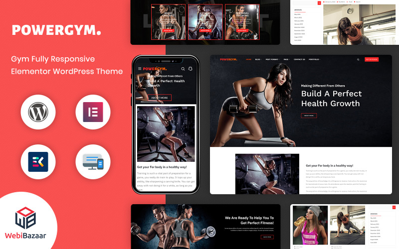 PowerGym - Багатоцільовий тренажерний зал Фітнес та бодібілдинг WordPress тема