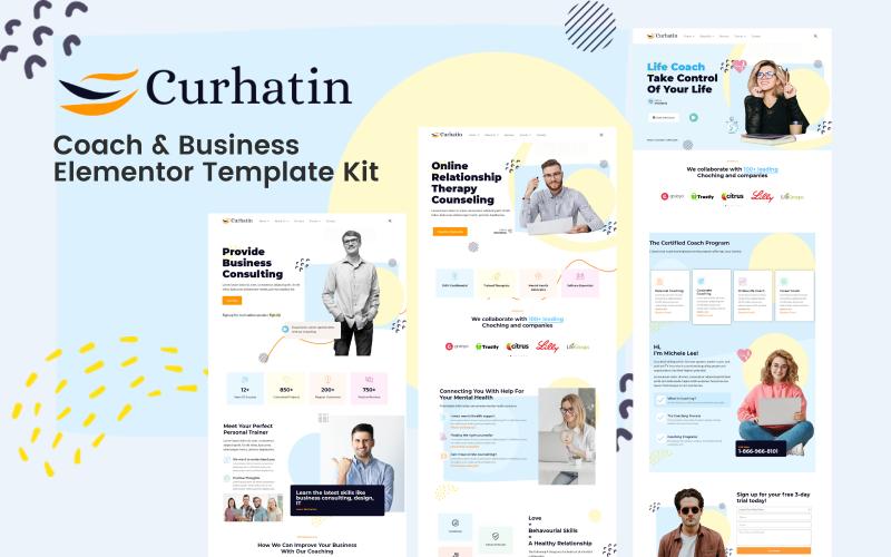 Curhatin - Kit de modèles d'entraîneur et d'entreprise Elementor Pro