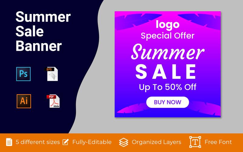 Summer Sale Social Ad Banner Vector Background Design