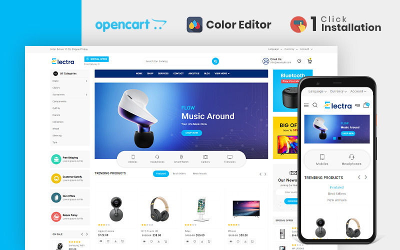 Electra Electronics Store OpenCart Template
