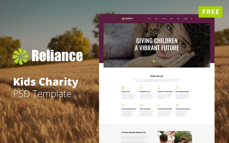 Reliance - Free Kids Charity Website Mockup PSD Template