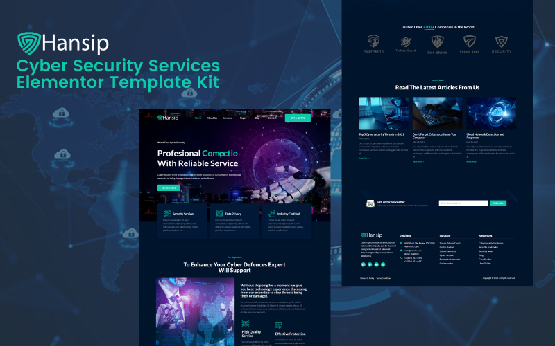 Hansip - Cyber Security Service Elementor Pro Template Kits