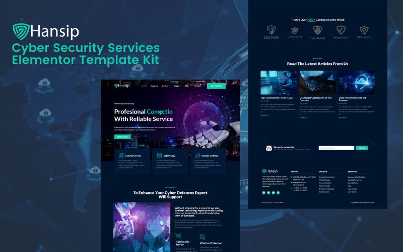 Hansip - Kits de modèles Elementor Pro pour le service de cybersécurité