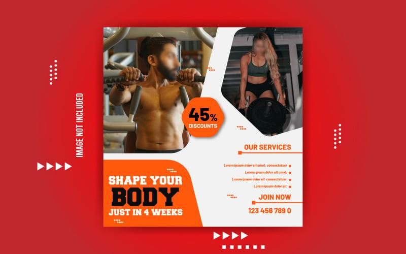Gym Fitness Promotional Sale Banner Design Social Media