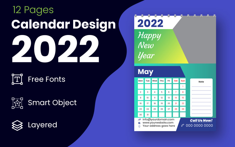 Abstrakter Kalender-Design-Vorlagen-Vektor 2022