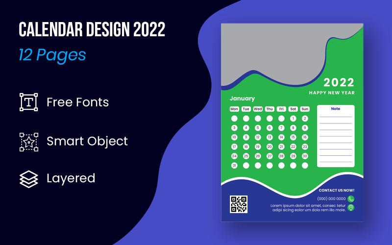 Абстрактный дизайн календаря на 12 месяцев 2022 Планировщик