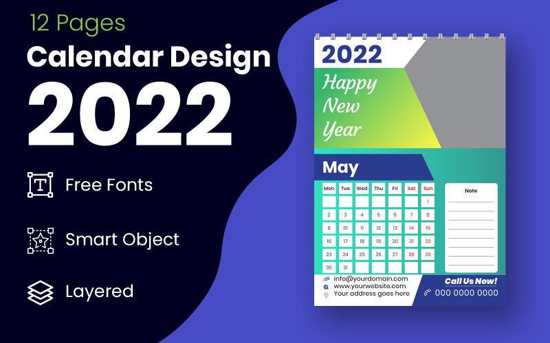 抽象 2022 日历设计模板矢量