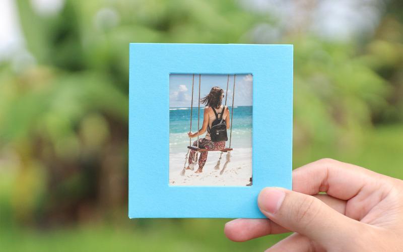 Голубая фоторамка для путешествий, макет продукта