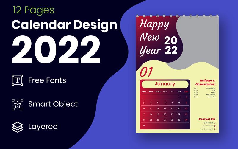 红色和黑色 2022 日历规划器设计模板矢量