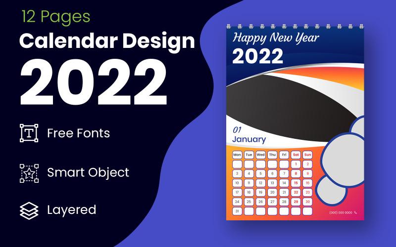 几何风格红色和黑色 2022 日历设计模板矢量规划器