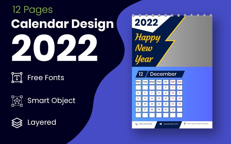 Новый год 2022 синий и черный календарь дизайн шаблона планировщик