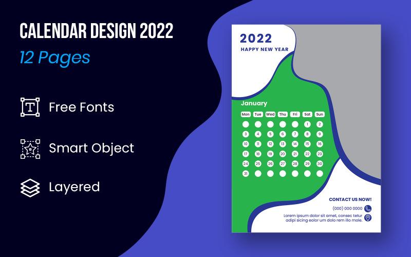 Set Of 12 Months Calendar Design 2022