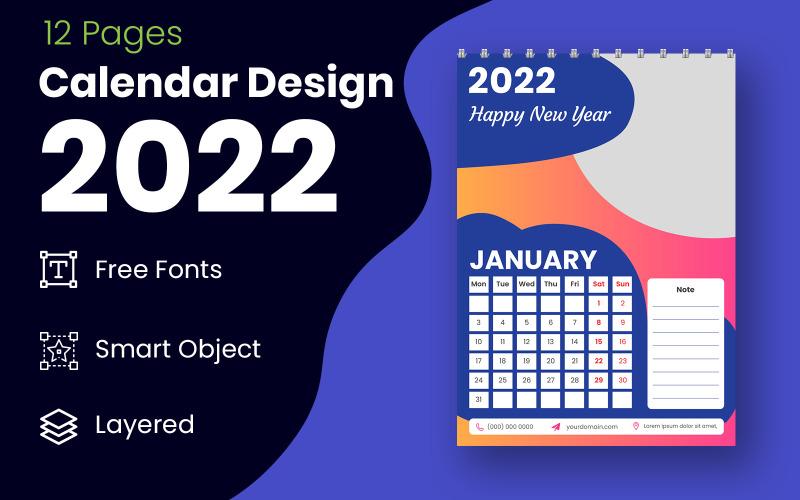 Vecteur de modèle de conception de calendrier professionnel abstrait 2022