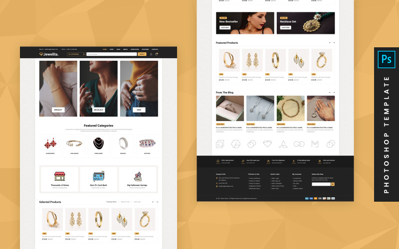 Jewelita - 电子商务 Photoshop PSD 模板