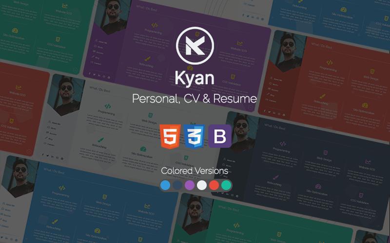 Kyan - Persönlicher, Lebenslauf und Lebenslauf Bootstrap HTML-Website-Vorlage