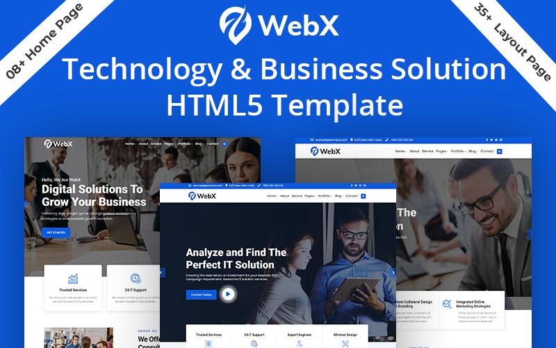 Modèle HTML5 de solution d'entreprise de technologie Webx