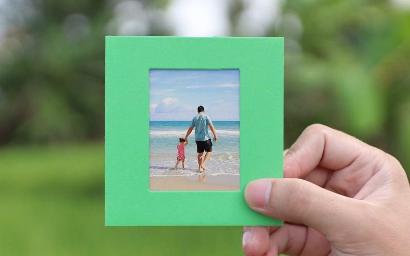 Mockup voor groene fotolijstjes