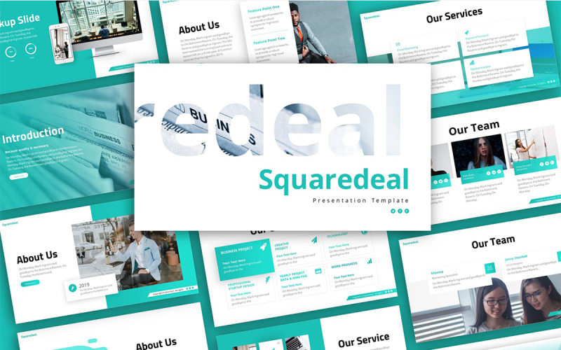 Squaredeal Business Presentation PowerPoint Template
