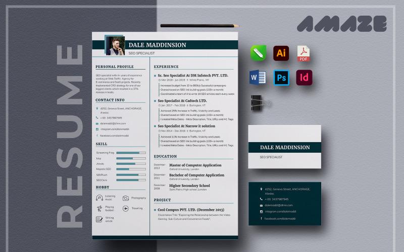 Amaze - MultiPurpose Printable Resume Template CV, Cover Letter & Business Card