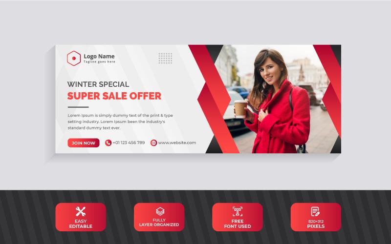 Modern Red Color Winter Sale Offer Facebook Cover Design