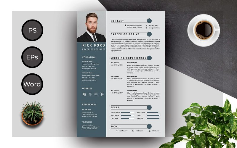 Resume Template of Rick Ford Creative  And Professional  CV Resume