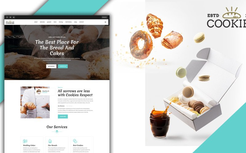 Cookies Pastry & Bakery Landing Page HTML5 Template