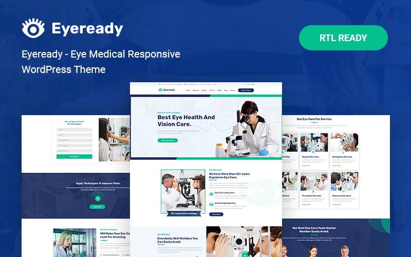 Eyeready - адаптивная тема WordPress для медицины глаз
