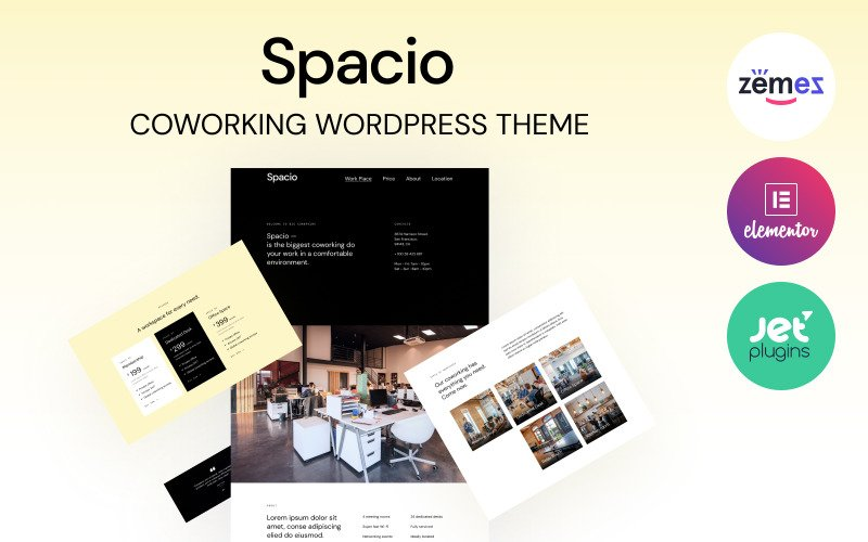 Spacio - Tema WordPress de Coworking para Unir Trabalhadores