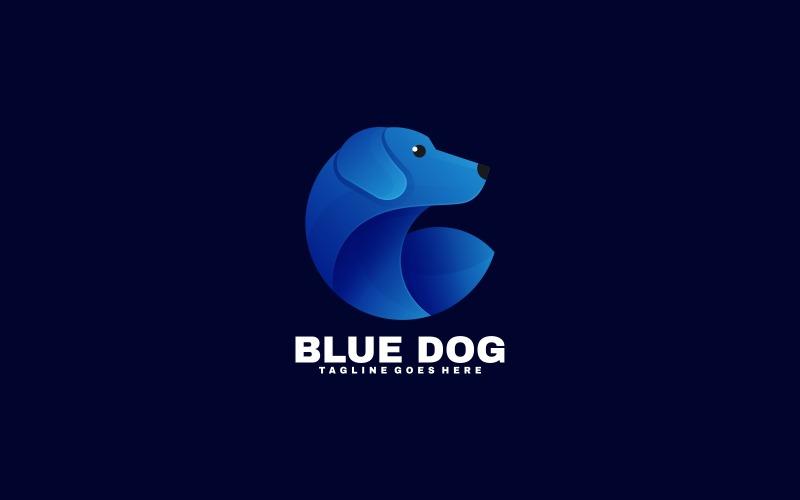 Голубая собака градиент красочный логотип