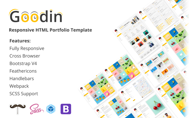 Goodin - отзывчивые ручки портфолио и шаблон веб-сайта Webpack