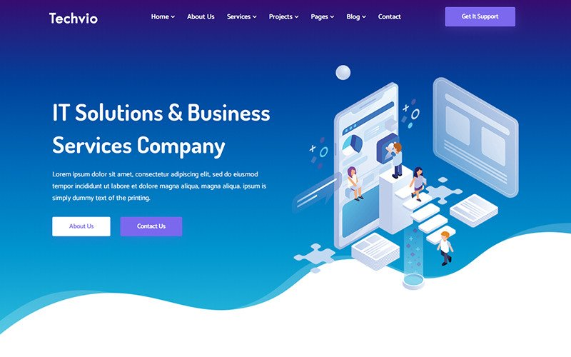 Techvio - шаблон веб-сайта ИТ-решений и бизнес-услуг