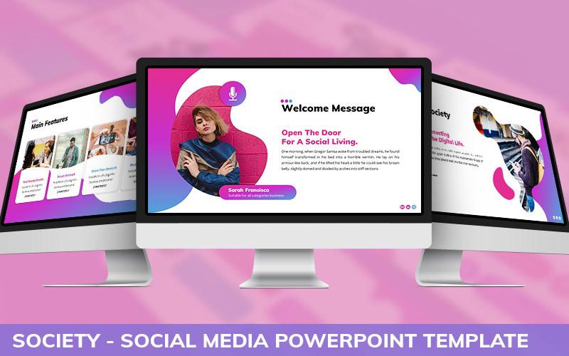 Société - Modèle PowerPoint de médias sociaux