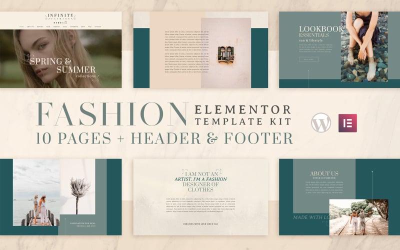 Infinity Fashion - набор шаблонов Elementor - Совместимость с WooCommerce (интернет-магазин) - 10 страниц в комплекте