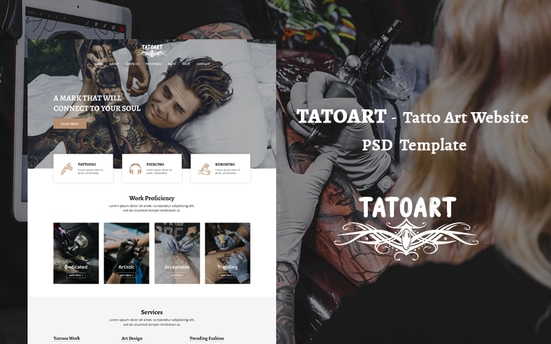 TATOART - Modelo PSD do site Tatto Art