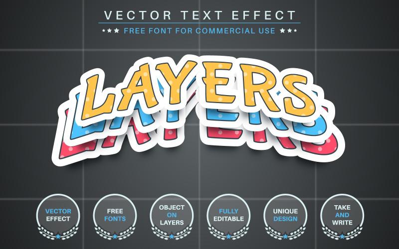 Nastavit barevnou nálepku - upravitelný textový efekt, styl písma, grafické znázornění
