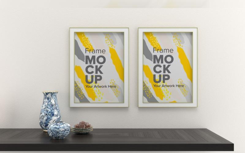 Dva rámečky Mockup s vázami na bílé zdi maketa šablony