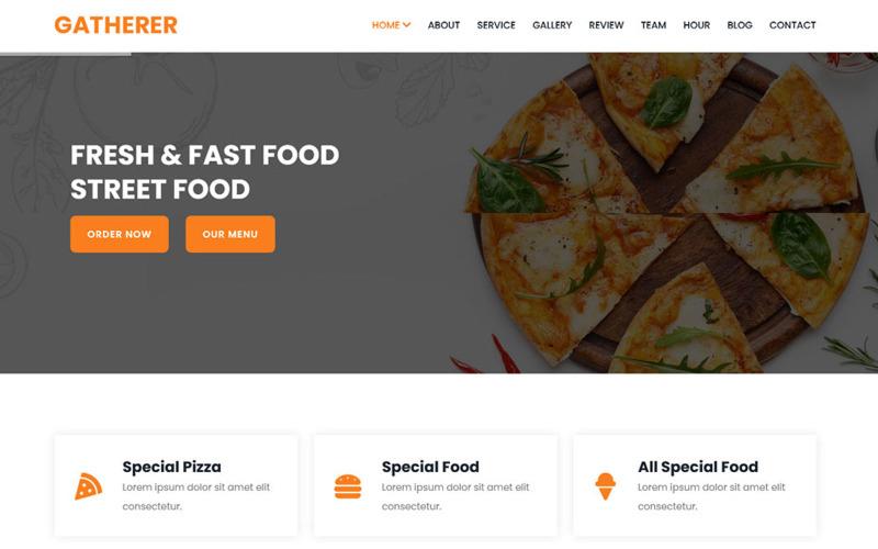Gatherer - Mall för målsida för mat och restauranger