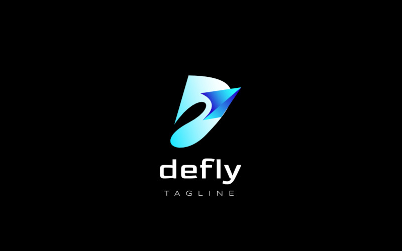D Fly - Futuristiskt logotypdesignkoncept