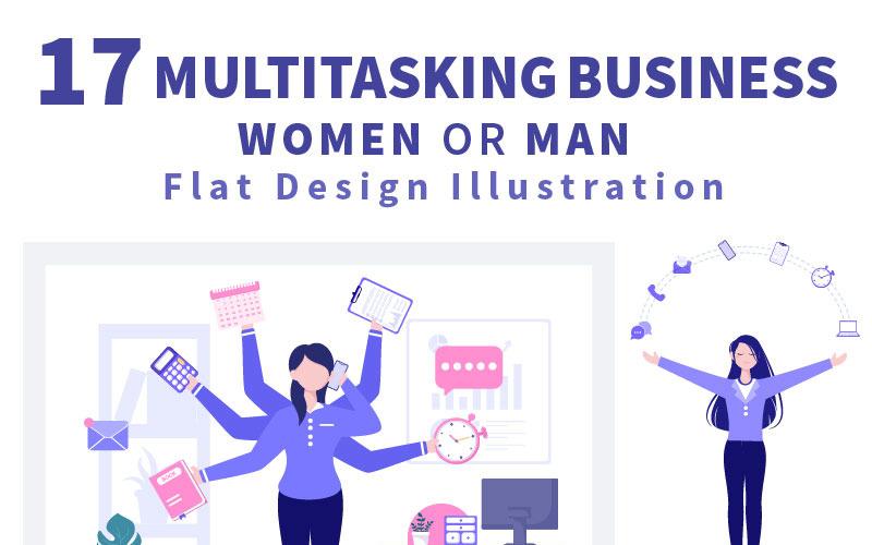 17 Illustration för affärskvinna eller man för multitasking