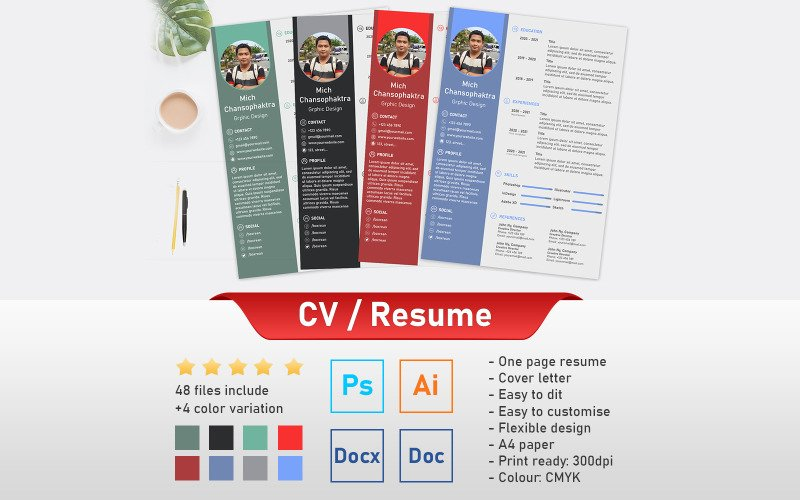 Professional CV Resume  Photoshop Template