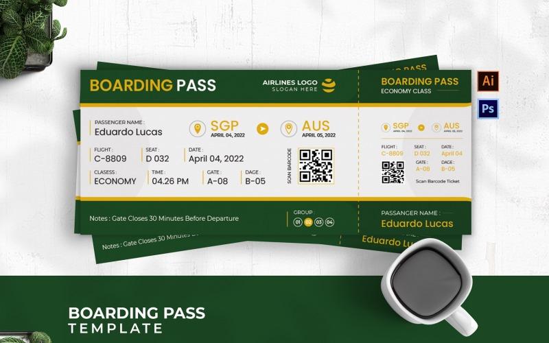 Grönt koncept ombordstigningskort
