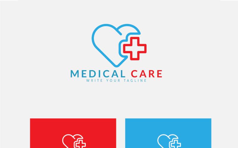 Medicinsk logotypdesign med kors och kärlek