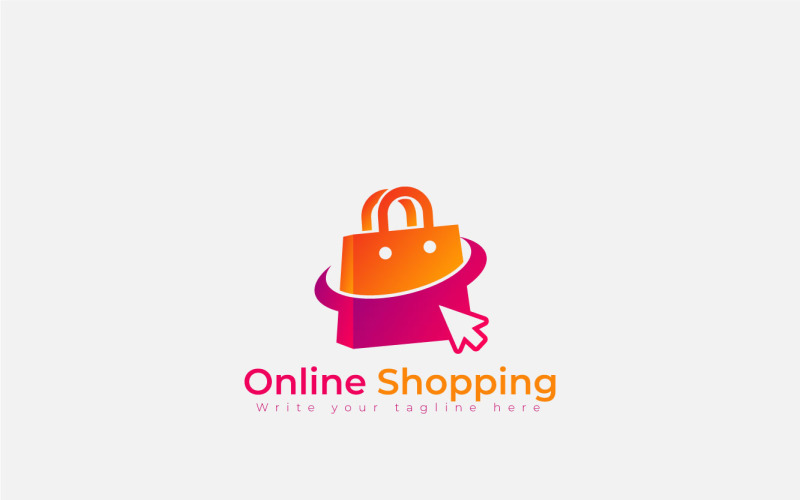 Online Shopping Logo With Shopping Bag And Mouse Pointer